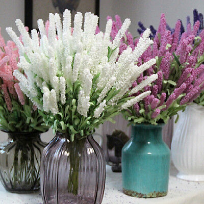 12 Heads Artificial Lavender Flower Leaves Bouquet Home Wedding Garden Decor Qy