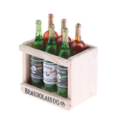 6 Wine Juice Bottles With Wooden Miniature Kitchen Drink Toy Dollhouse Gift HF