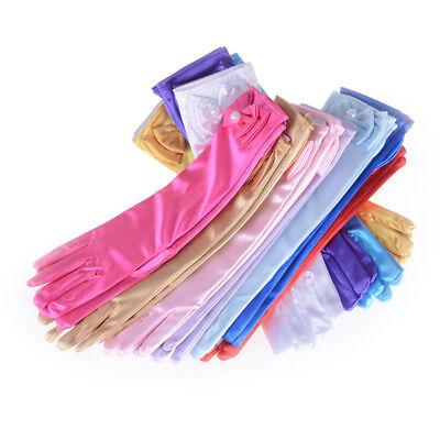 Satin Bow Pearl Long Gloves Elbow Length Princess Costume Dress Baby Girls Kid J (Princess Gloves)