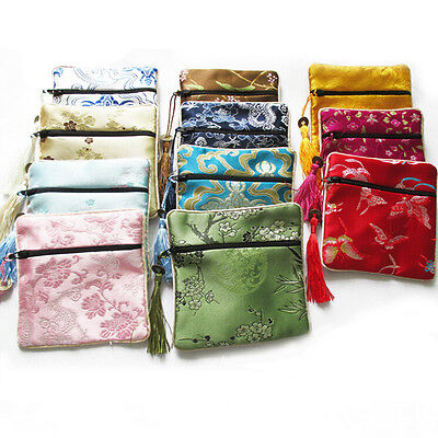 10PCS Mix Colors Chinese Zipper Coin Tassel Silk Square Jewelry Bags Pouches TOC