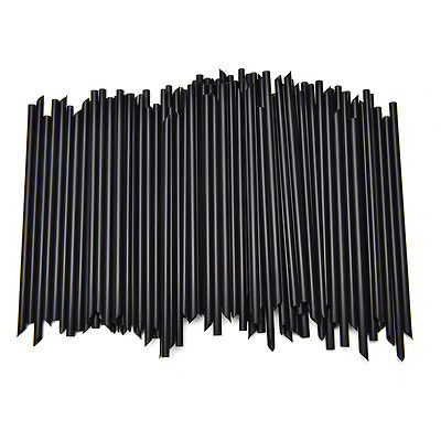 100X Black Plastic Cocktail Straws For Celebration Drinks Party Supplies GS - Black Straws