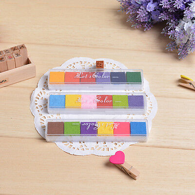 6Colors Non-Toxic Color Ink Pad Inkpad Rubber Stamp Finger Print DIY Stamp CTB