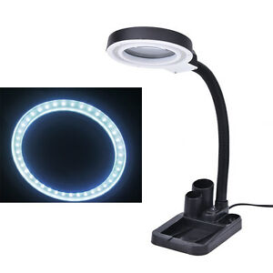 Magnifying Crafts Glass Desk Lamp With 5X 10X Magnifier + 40 LED Lights ^^