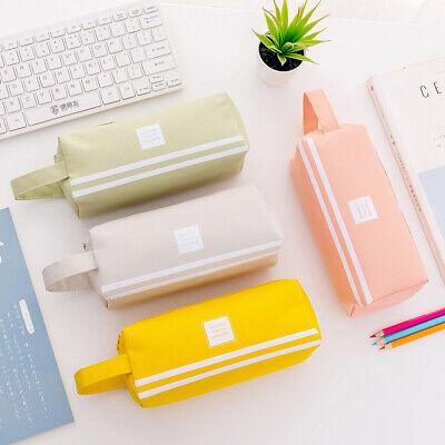 Double Zipper Large Pencil Case Kawaii School Pencilcase Big Pen Box QP