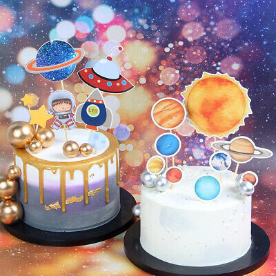 1set Solar System Outer Space Themed Birthday Party Decor Paper cake toppeEC - Space Themed Birthday Party