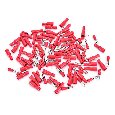 100pcs Red Insulated Female&Male Bullet Butt Connector Wire Crimp Terminals Red