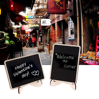 1Pc Mini Blackboard Chalkboard With Stand Place Card Wordpad Rectangle Angled Jb