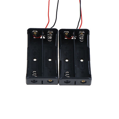"2PCS 2x18650 Black Plastic Battery Storage Case Box Holder with 6"" Wire Lead KK"