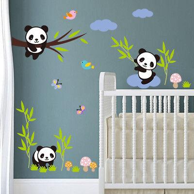 cute zoo animal panda tree birds kids room decor baby room decals wall stickers