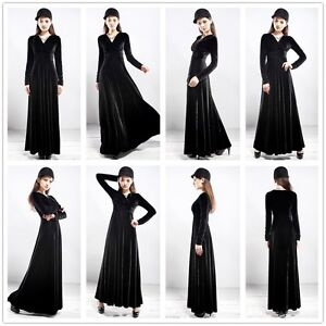 Chic Autumn Winter V Neck Gorgeous shimmer velvet stretch long sleeve Maxi dress