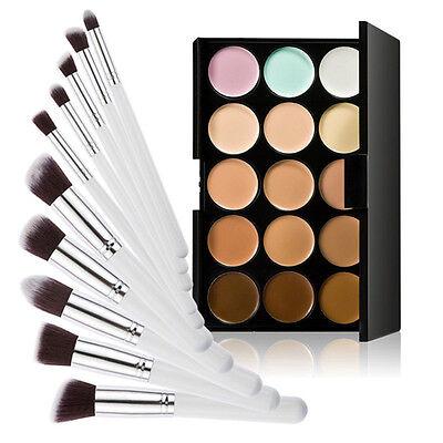 Concealer Palette 15 Farben Makeup +10 Make Up Profi Pinsel Set Contour Kosmetik