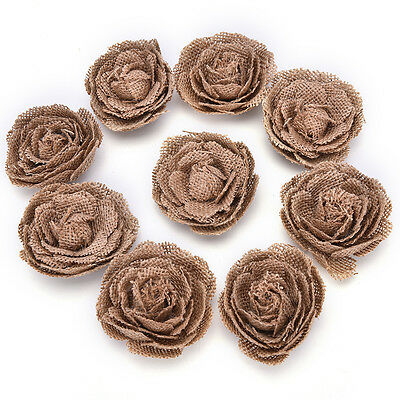 Burlap Flowers Embellishments Fabric Rose Flowers Weddings Party Decor DIY OJ](Burlap Wedding Decor)