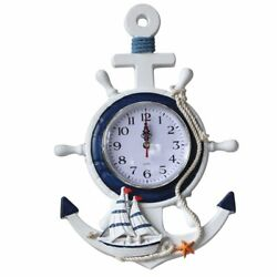 Anchor Clock Beach Sea Theme Nautical Ship Wheel Steering Wheel Wall Decoration