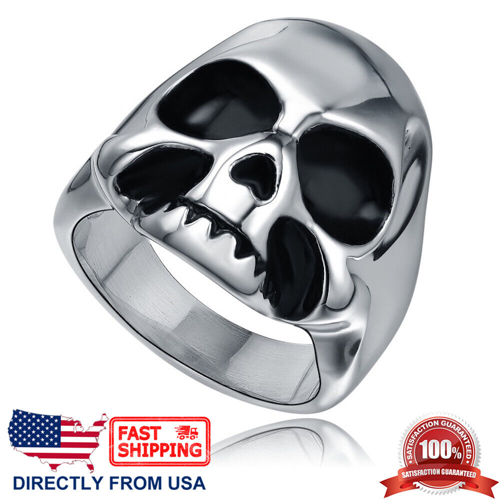 Men's Stainless Steel Gothic Halloween Biker Skull Ring (Size 7 – 15, US Seller) Jewelry & Watches
