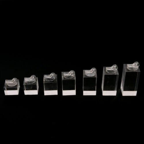 Set of 7 clip ring acrylic display stand jewelry holder Riser NJ