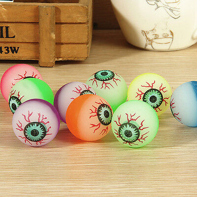 10 Pcs 32mm Funny Eyeball Candy Colors High Bounce Ball for Toy Machine