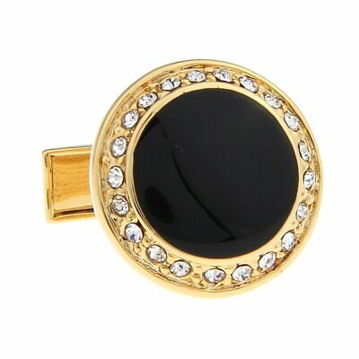 Gold Black Onyx Cufflinks - New Gold-Tone Round Rhinestone and Black Onyx Cufflinks with Lots of Bling