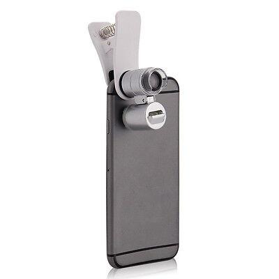 Mini 60x Pocket Microscope Jewelry Magnifier Loupe Glass Led Uv Light Xsusv