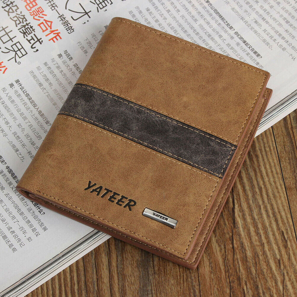 Men's Leather Wallet Bifold ID Card Holder Slim Short Purse ID Cash Clutch Bag Clothing, Shoes & Accessories