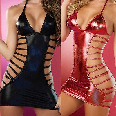Sexy Lingerie Leather Underwear Lady Women Underwear Sleepwear Dress JHUS