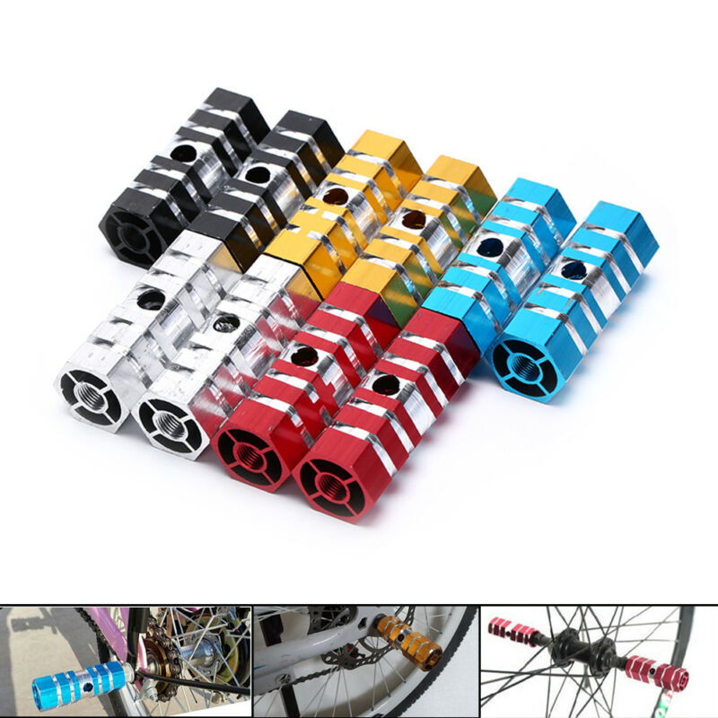 2pcs BMX MTB Bike Bicycle Foot Pegs Aluminum Alloy 3//8/'/' Axle Pedals Stunt