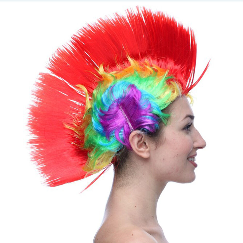 1980 S Fancy Dress Wigs Mohican avec rouge perruque de cheveux
