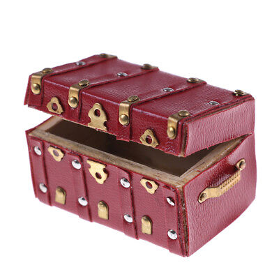 Treasure Chest Vintage Leather Case Box Wooden Miniature Doll House Accessory-AY