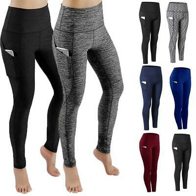 Womens High Waist Yoga Pants With Pocket Leggings Fitness Sport Workout Athletic Waist Yoga Pants