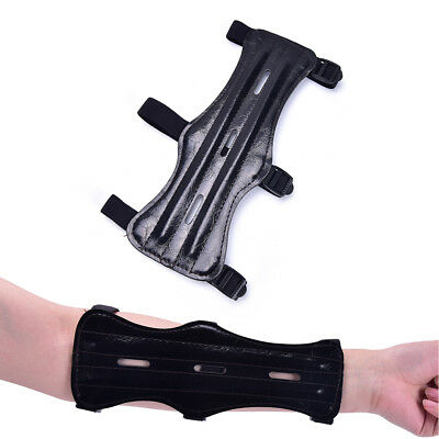 1pc Faux Leather 3 Strap Shooting Target Archery Arm Guard Protect Safe Strap~!