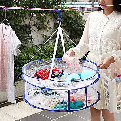 2 Layers Drying Rack Net Folding Hanging Clothes Laundry Sweater Dryer Basket YT