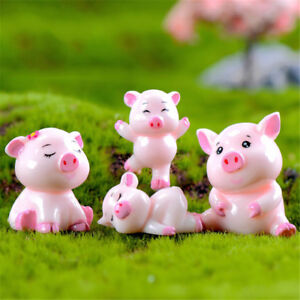 4pcs Pigs Mini Miniature Figurine Fairy Garden Dollhouse Decor Micro LandscapeUQ
