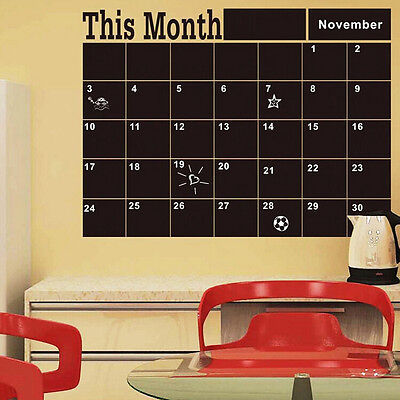 Monthly Chalkboard Chalk Blackboard Wall Sticker Decor Month Plan Calendar Diy