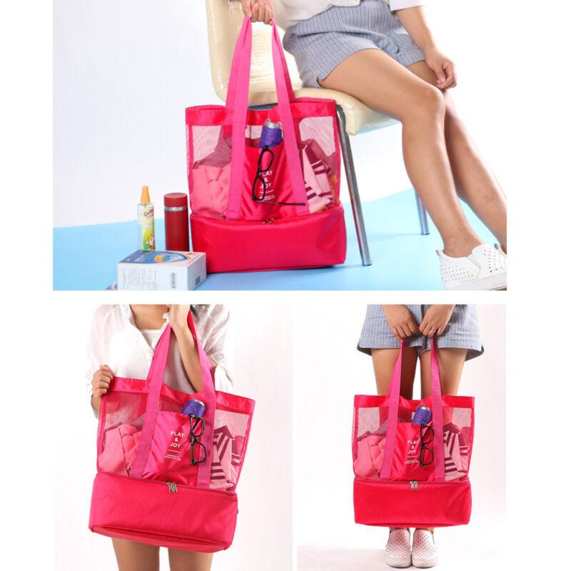 Mesh Beach Bag Double Layer Picnic Cooler Single Shoulder Pi