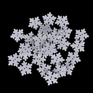 100Pcs White Snowflake DIY Wooden Buttons for XMAS Decor Scrapbooking CraftsRDUJ