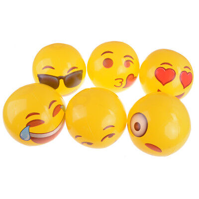 1PC Emoji Face Inflatable Round Beach Ball For Water Play Pool Kids Toy YJ
