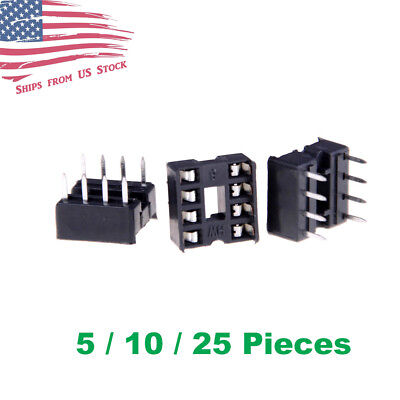 8 Pin 8p Dip Ic Socket Adaptor Solder Type 2.54mm 5 10 25pcs Us Stock