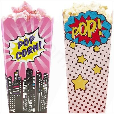 Large Popcorn Boxes (Large Popcorn Boxes Paper Party Treat Bags Kids Birthday Party Favour Box - Pk)