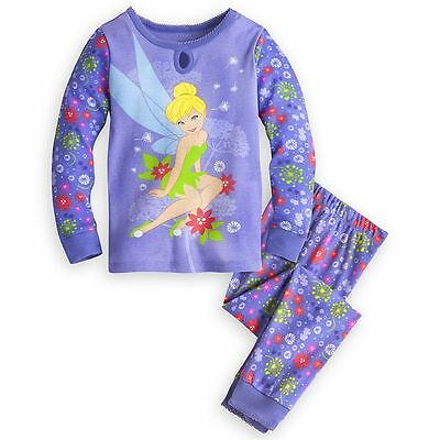 Disney Store Princess Tinker Bell 2 PC Long Sleeve Tight Fit Pajama Set Girl 6  - Tinkerbell Tights