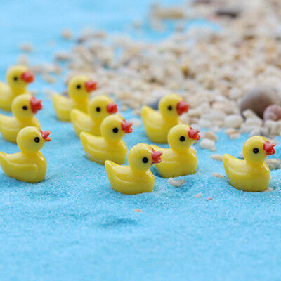 10pcs Miniature Resin Yellow Ducks Dollhouse Craft Fairy Garden Bonsai Decor HGU