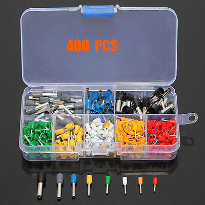400pcs Multicolour Wire Ferrule Copper Crimp Connector Pin Cord End Terminal Kit