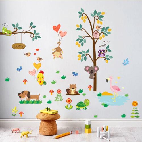 owl animal wall stickers jungle zoo tree nursery baby kids room decals mural~UE