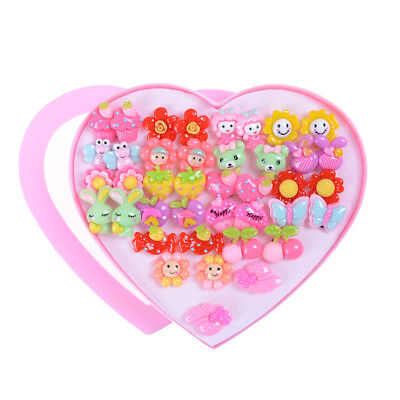 20Pairs Cute Clip-On No Pierced Earrings For Kids Child Girls Christmas Gift QY