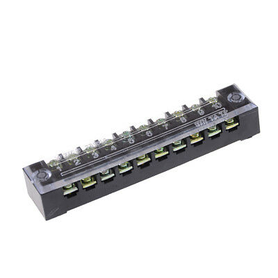 600V 15A 10 Positions Dual Rows Covered Barrier Screw Terminal Block Strip Tsla