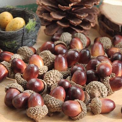 10x Fake Fruits Artificial Mini Acorn Oak Nut Ornaments Home Party Decorative