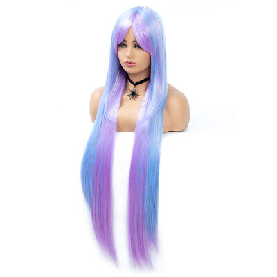 Women Mixed Blue Purple Long Straight Hair Wig Cosplay Costume Party Full Wigs - Purple Hair Costume