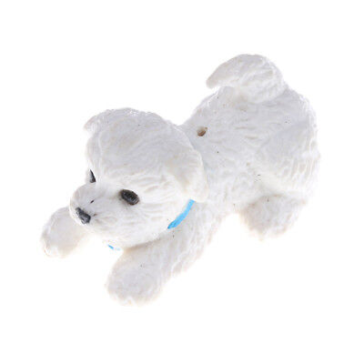 White Pet Mini Puppy Dog Cute 1:12 Dollhouse Miniature Animal、Fad UQ