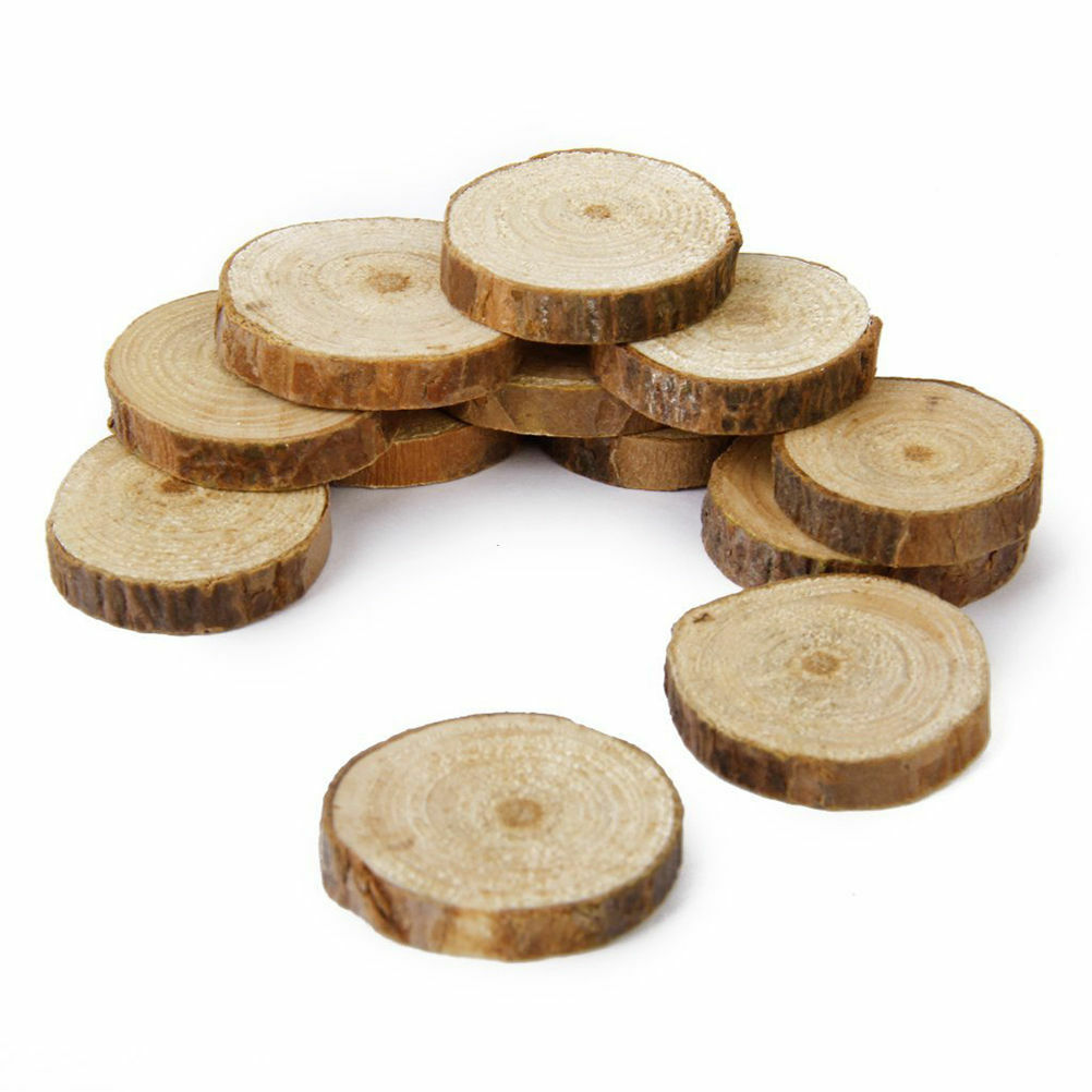200pcs Rustic Natural Round Wood Pine Tree Slice Disc Wedding ...