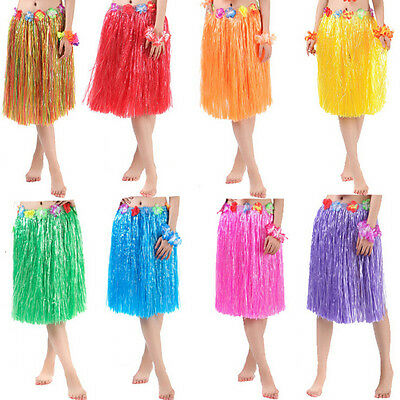 Hawaiian Dress Skirt Hula Grass Skirt With Flower Accessories Adult Lady YT](Hawaiian Costume)