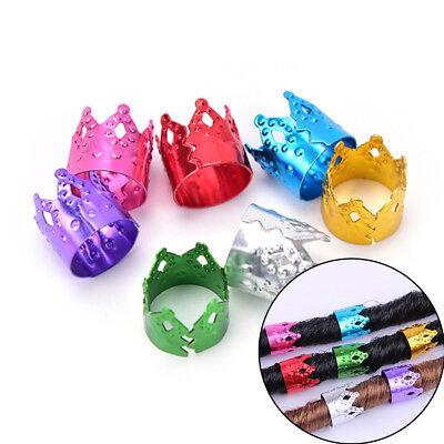 FO  20X Clips Cuffs Braiding Hair Beads Decoration Dreadlocks Tube FO