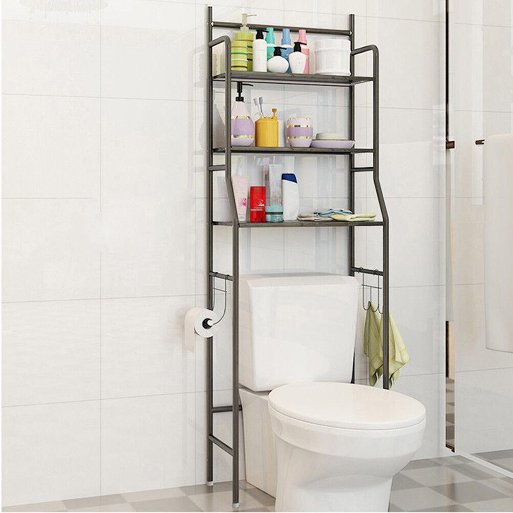 Meuble De Rangement De Salle De Bain détails sur etagère de salle de bain, meuble de rangement au-dessus des  toilettes wc,noir